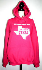 Gildan Womens 2XL SweatShirt Hoodie Pink  What Country Y'all From I'm FromTexas