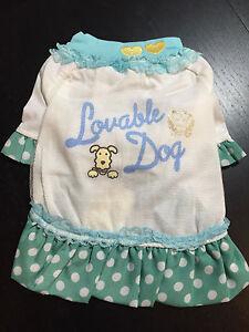 Loveable Dog Pet Green Pot Dot Dress Puppy Princess Skirt Clothes Size 2 (S)