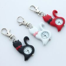 10pcs/Lot, Fashion Lovely Cat Pocket Key Rings Chain Pendant Watch Gifts GL58kT
