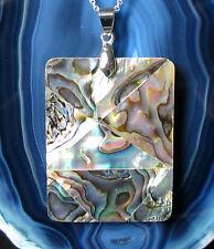 Colgante Opal De Lago Concha Paua Nácar plateado Mosaico de anguloso