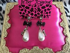 Betsey Johnson Enchanted Garden Crystal Pearl Tear Dop Dragonfly Bow Earrings