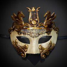 Halloween Men Roman Pegasus Egyptian Greek Venetian Masquerade Mask Gold Ivory