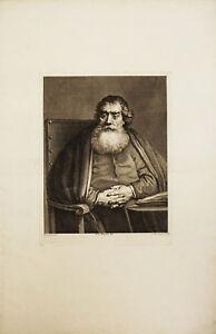 RITRATTO ANZIANO BARBA - Male Portrait - Rembrandt Incisione Originale 1700