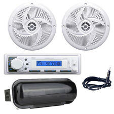 """Pyle 4"""" 100W White Boat Speakers, PLMR20W Marine Headunit Receiver,Antenna/Cover"""