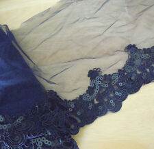 "9.5"" Wide Dark Blue Tulle Lace with Embroidered Flower and Sequins eh0160"