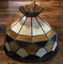 Vintage Stained Glass Hanging Light Fixture With Milkglass Globe