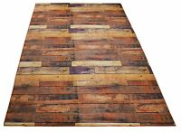 Nature Inspired Area Rug and Runner Slip Resistant Exotic Brown Wood Pattern New