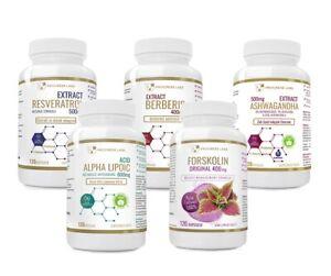 Resveratrol - Berberis Aristata  - Ashwagandha - Alpha Liponsäure - Forskolin