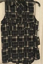 Rock & Republic Black Checked Womens Sleeveless Top Size XS