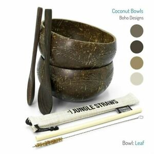 Eco Friendly Coconut Bowls & Spoons Set | Organic Buddha Bowl Set w Bamboo Straw