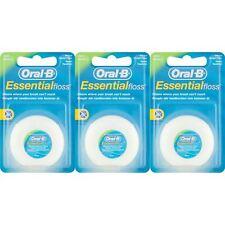 3 x Oral-B Essential Dental Floss Mint Waxed 50m Medium Remove Plaque & Bacteria