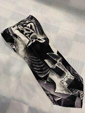 FRATELLI Mode 100% Silk Handmade In Italy Black White Art Neck Tie