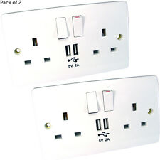 2 PACK- Double UK Mains Power Socket & USB Port Wall Face Plate– iPhone Charger