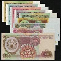 TAJIKISTAN 1 - 1000 Rubles SET 9 PCS 1994 P-1 2 3 4 5 6 7 8 9 UNC Uncirculated
