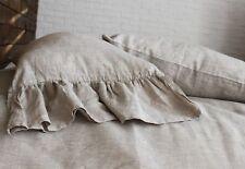 Pure Linen Pillowcase with Mermaid Long Ruffles - Standard, Queen, King, Euro