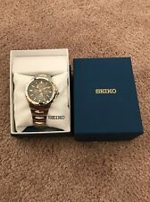 New Seiko Coutura Solar Perpetual Chronograph Two Tone Men's Watch SSC376