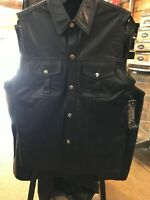 NWT Leather Vest Snap Front Medium Black