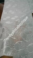 Original quality Swiss lace Fabric. Pure white for Nigerian party dress. Sold pe