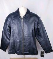 Burk's Bay Womens Size Medium NWT Leather Jacket Black Biker Road Jacket
