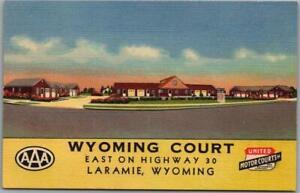 1940s Laramie, Wyoming Postcard WYOMING COURT Highway 30 Roadside Linen Unused