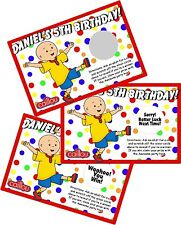 10 CAILLOU PERSONLIZED SCRATCH OFF OFFS PARTY GAME GAMES CARDS BIRTHDAY FAVORS