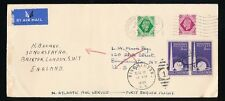 FLIGHT GB KG6 1939 7d + 8d AIRMAIL USA + REDIRECTED BINGHAMPTON NY 6c to BRIXTON