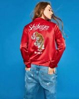Zara Red Satin Look Tiger Embroidered Bomber Jacket Size M UK 10 BNWT