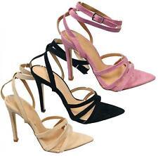 Señoras mujeres mediados tacón alto Peep Toe Zapatos De Gamuza Sandalia Fiesta Informal Correa De Tobillo