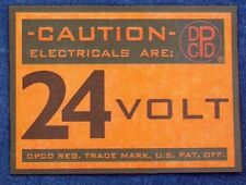 DPCD LOGO 24 VOLT STICKER FIREWALL WARNING LABEL ▬ DODGE PLYMOUTH MILITARY TRUCK