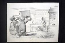 Incisione d'allegoria e satira Roma, voto 21 gennaio 1849 Don Pirlone 1851