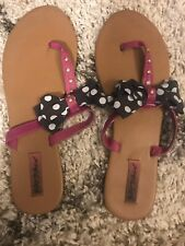 NWT Betsey Johnson size M 7-8 Pink Black Leopard  Flip Flop Sandal with Pink Bow