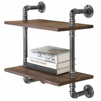 MyGift 17 Inch Black Metal Pipe and Rustic Brown Wood 2 Tier Wall Mounted Shelf
