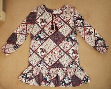 Pumpkin Patch Age 10yrs 140cm 'Helena' Patchwork Print Tunic Dress Red Pink Blue