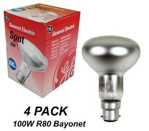 4 x 100W Incandescent R80 Reflector Light Globes Bayonet B22 BC General Electric