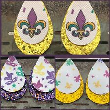 Mardi Gras Faux Leather Earrings