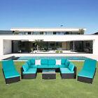 Kinbor 9pcs Garden Outdoor Patio Rattan Wicker Sofa Set And Chaise Lounge, Blue