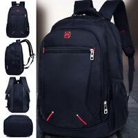 Large Men's Black Oxford Waterproof Backpack School Rucksack Travel Camping Bag