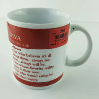DIVA- Pron: dee-vuh = DICTIONARY DEFINITION,  Porcelain Coffee Cup/ Mug, VINTAGE