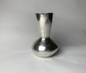 Vintage Metal Steel Bud Vase Vessel With Line Detail Silver Home Decor