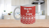Warm and Cozy Mug Nordic Sweater White Coffee Cup Gift for Christmas Winter Snow