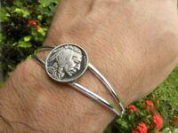 Buffalo Indian Nickel coin cuff Bracelet adjustable nice gift motorcycle biker