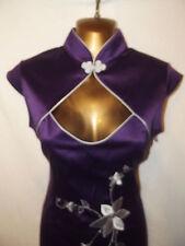 Oriental Chino púrpura mandarín Vestido Talla 8 10