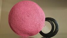 Majunga Hot Pink Raffia Woven Basket Round Handles Bead Closure Handbag Purse