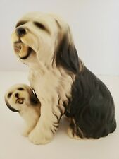 "Vintage Porcelain English Sheepdog With Puppy Matte Finish 6"" T By 6"" L Cute"