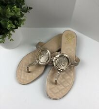 New VINCE CAMUTO VP Braida Flat Sandals Gold Tan Leather Sz 9.5