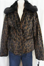 "INC Coat Sz M Flat Leopard ""Mod"" Casual Lined Jacket Removable Fur Collar Lined"