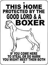 """BOXER DOG SIGN, GUARD DOG, ALUMINUM 9""""x12"""",GUARD DOG,BOXERS Sign Decal GLBOX2"""