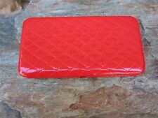 Red Clutch Wallet Metal Framed Quilted Texture Flat Clutch Wallet New