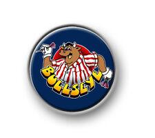 """BULLSEYE / 1"""" / 25mm pin button / badge / bully / darts / Jim Bowen / TV / 180"""