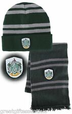 HARRY POTTER Slytherin House *LICENSED* HAT & WOOL SCARF w/ CREST beanie green